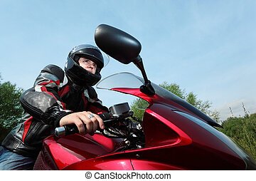 motorcyclist, bottom view