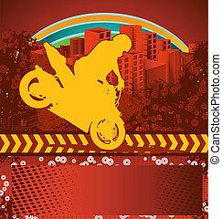 Motorcyclist grunge poster