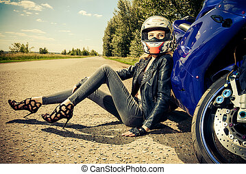 motorcyclist in helmet