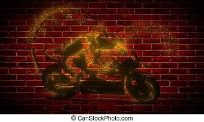 Motorcyclist neon icon. Simple icon for websites, web design...
