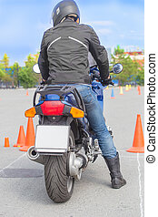 motorcyclist on competition start