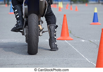 motorcyclist on the motorcycle