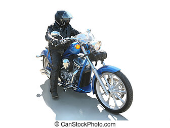 motorcyclist on the motorcycle isolated