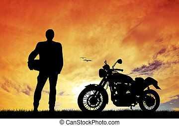 motorcyclist silhouette