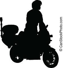 motorcyclist silhouette - vector
