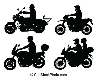 motorcyclist silhouettes - vector