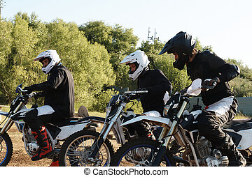 Motorcyclists at starting line