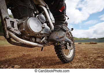 Motorcyclists foot on pedal - Close-up of unrecognizable ...