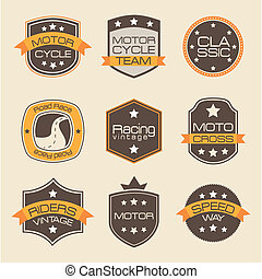 motorcyclists seals over pink background vector illustration