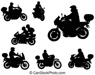 motorcyclists silhouettes