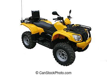 motorcykel, four-wheel, isolerat