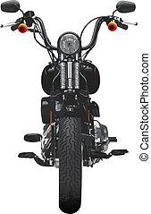 motorcykel, frontal, synhåll