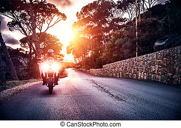 motorcyklist, ind, solnedgang, lys