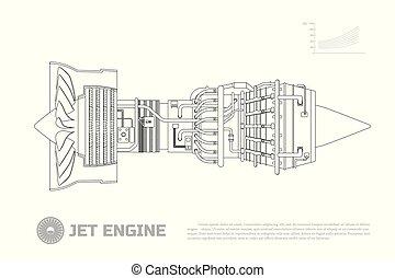 motore, aircraft., parte aeroplano, jet