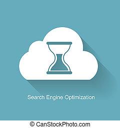 motore, appartamento, ricerca, optimization, -, illustrazione, vettore, seo, icona