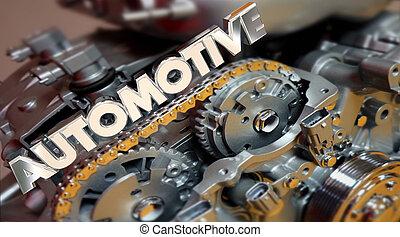 motore, automobile, automobilistico, powertrain, illustrazione, veicolo, automobile, 3d