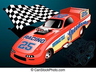 motore, automobile, dragster, illustrazione, bandiera, da corsa, rosso, chequered