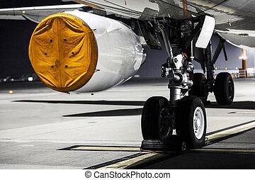 motore, chiudere, aeroplano, su