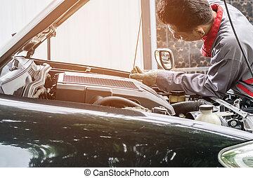 motore, controllo, olio, livello