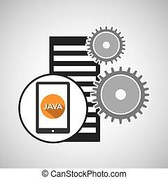 motore, database, smartphone, regolazione, ingranaggio