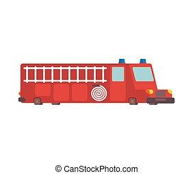 motore, fuoco, grande, illustrazione, style., vettore, automobile, cartone animato, rosso