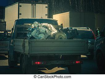 motore, grande, piccolo, camion, caricato