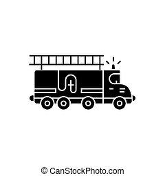 motore, illustrazione, fuoco, automobile, -, isolato, segno, vettore, sfondo nero, icona