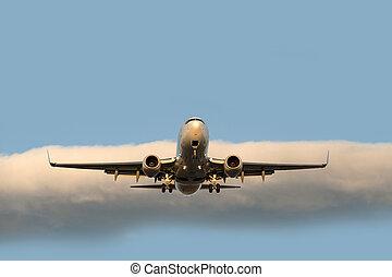 motore, jet, due, atterraggio, aereo, prima