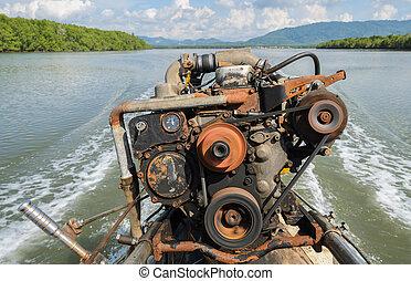 motore, long-tail, barca