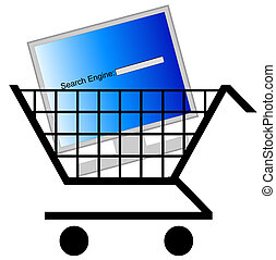 motore, ricerca, computer, shopping
