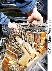 motore, riparazione, automobile, machanic, automobile, riparatore