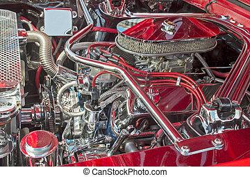 motore, scompartimento, con, chromed, parti