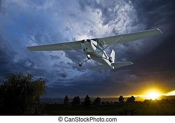 motore, singolo, aeroplano