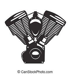 motore, stile, emblema, motocicletta, monocromatico, silhouette