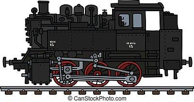 motore, vecchio, serbatoio, locomotiva, vapore