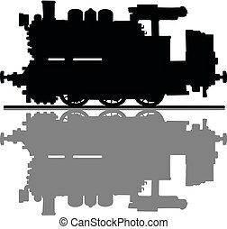 motore, vecchio, serbatoio, locomotiva