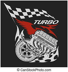 motore, vendemmia, checkered, bandiere, da corsa