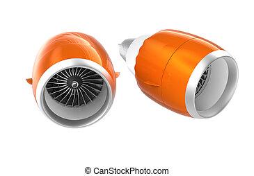 motores, jato, turbofan, laranja, dois