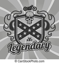 motorfiets, club, lappen, vector, ontwerp, motorfiets, emblem.