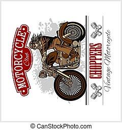 motorfiets, fietser, classieke, label., illustratie, of, thema, badge