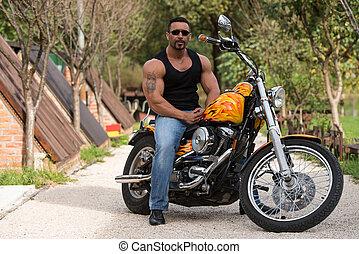 motorfiets, gespierd, man