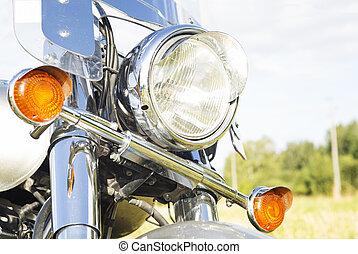 motorfiets, koplamp, close-up, outdoor.