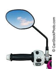 motorfiets, spiegel, handvat