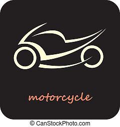 motorfiets, -, vector, pictogram