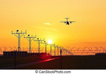 motorflugzeug, an, der, sonnenuntergang