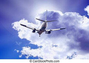 motorflugzeug, auf, der, blauer himmel