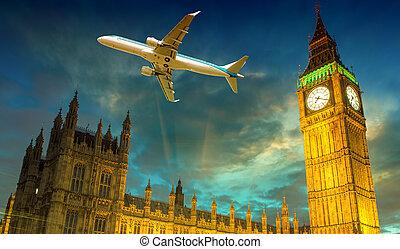 motorflugzeug, aus, westminster, und, big ben, london, -, vereinigtes königreich