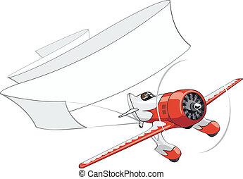 motorflugzeug, banner, retro, leer