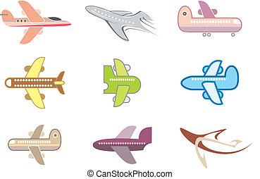 motorflugzeug, düse, -, freigestellt, vektor, ico