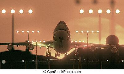 motorflugzeug, ende, sonnenuntergang, starten